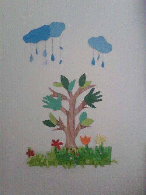 Seinätyö askartelua.  Puu sai talven jälkeen lehdet ja muutaman kevät kukan.. sadepilvet edustaa niin tätä sateista ilmaa..