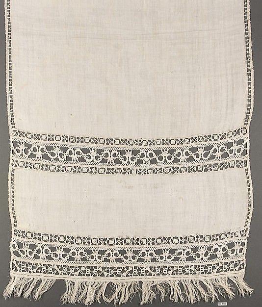 Towel Date: late 16th century Culture: Italian Medium: Linen, bobbin lace I love…