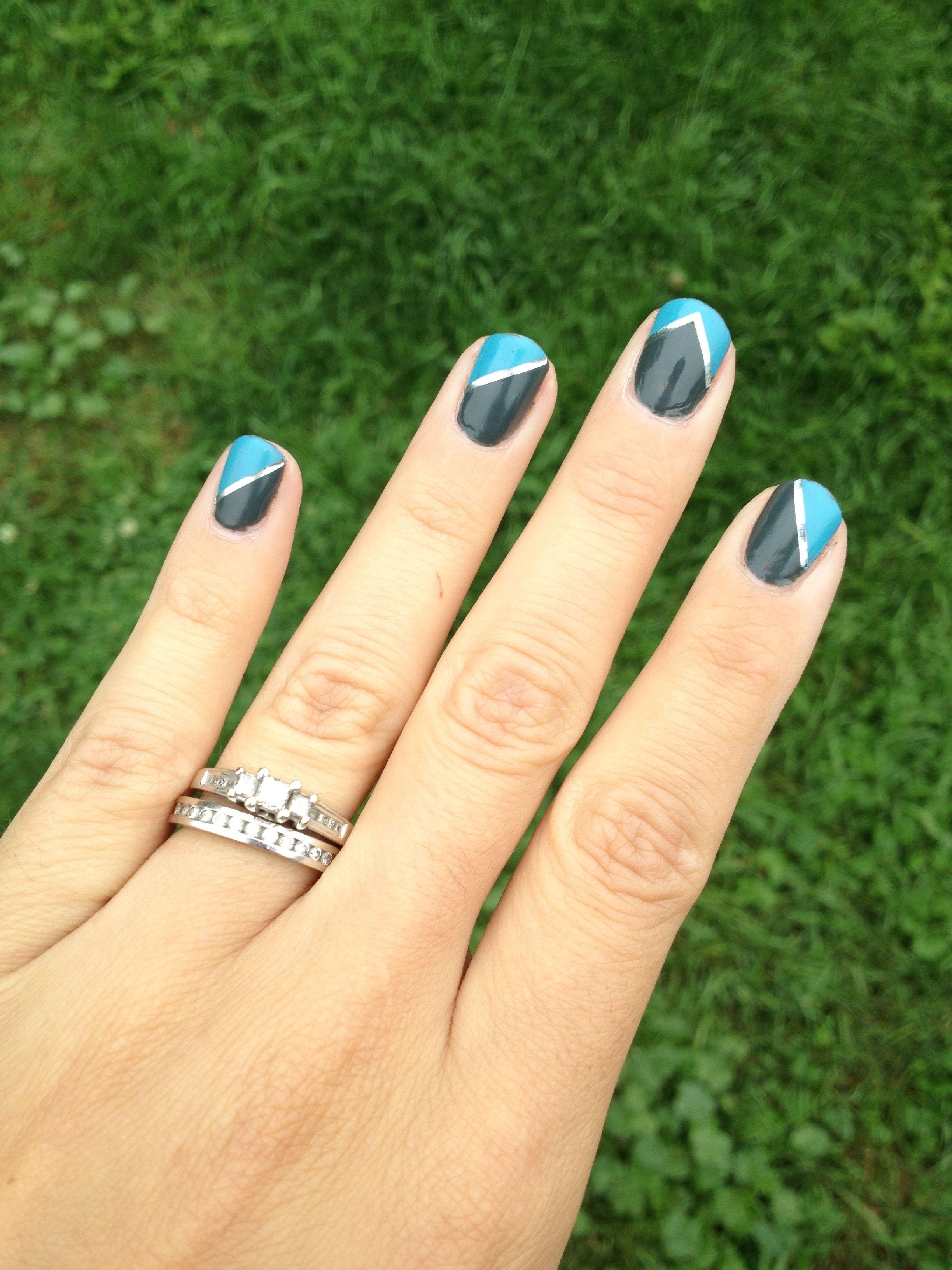 Gray and blue geometric nail art. Silver nail tape.   NAILS ...