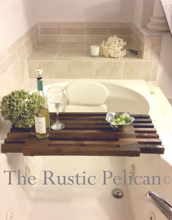 Reclaimed Wood -Tub Caddy -Rustic Bathtub Tray -Barn wood Bathtub ...