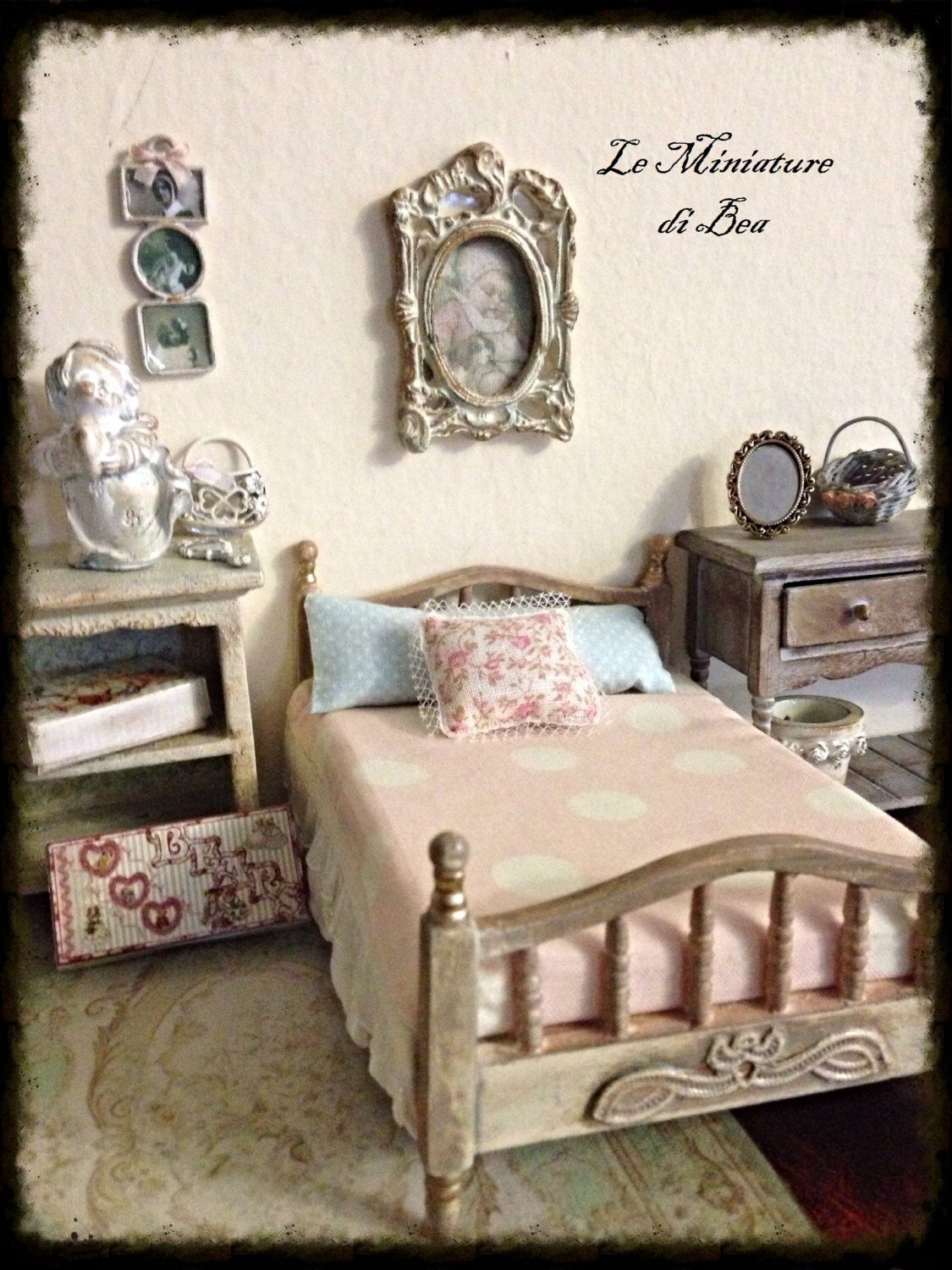 1:12 children bed miniature dolls house - hand made - shabby chic ...
