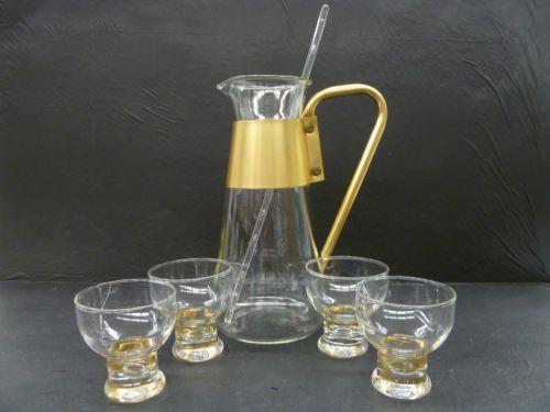 Vintage Pyrex Cocktail Drink Pitcher w/ 4 Glasses and Stirrer