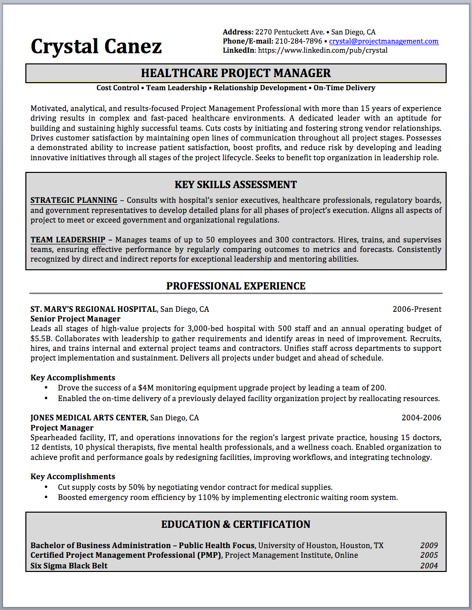Project Manager Resume Sample and Writing Guide Resume