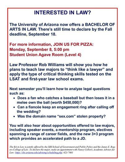 The University Of Arizona Now Offers A Bachelor Of Arts In Law