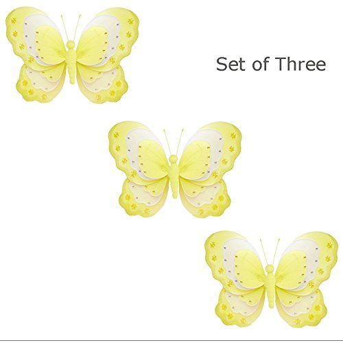 Set of 3 XLarge 18 Hanging Butterfly Yellow White Triple Layered ...