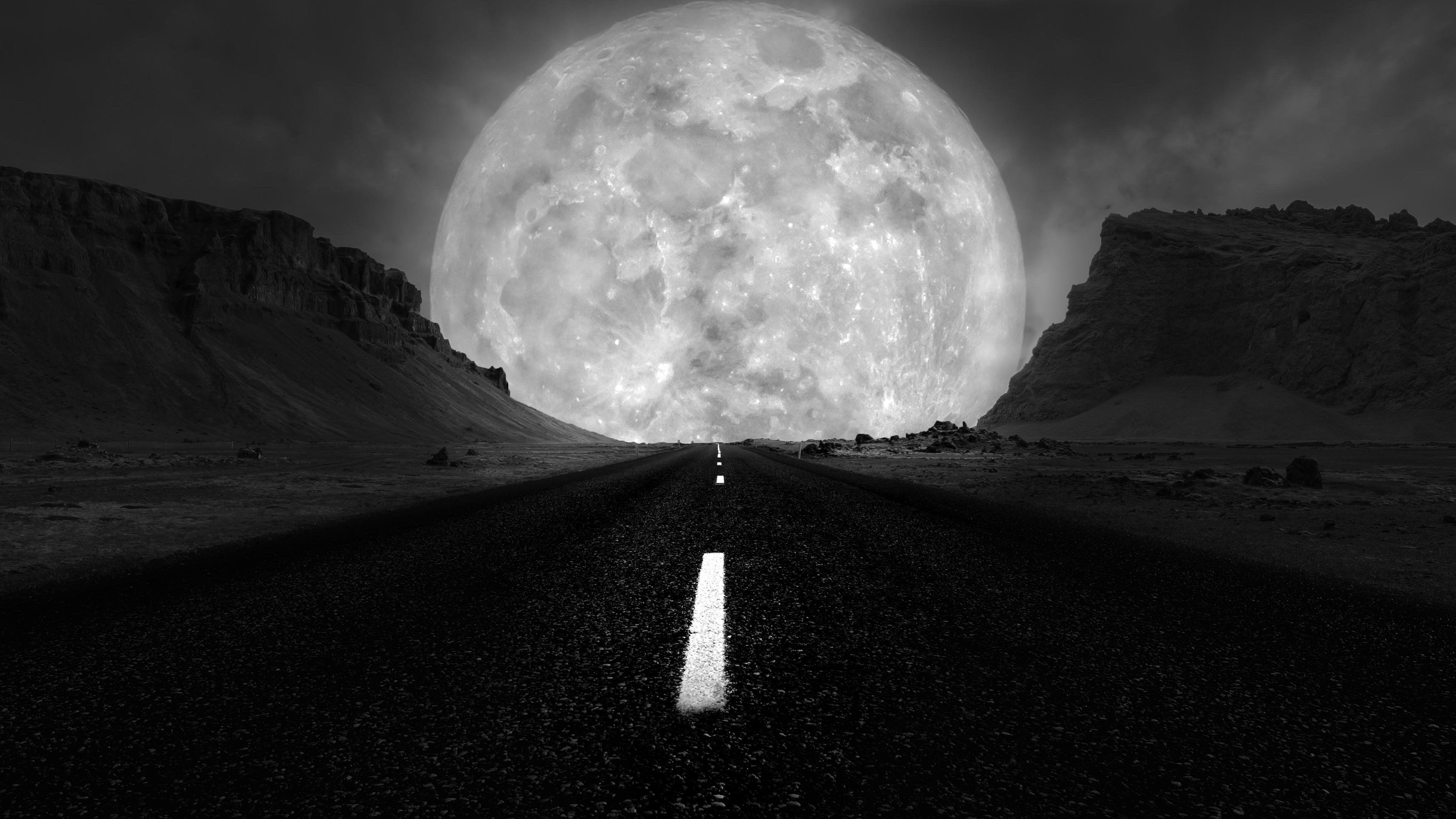 Wallpaper Black Nature Black And White Sky Full Moon In 2021 Hd Wallpaper Wallpaper Gallery Dark Wallpaper