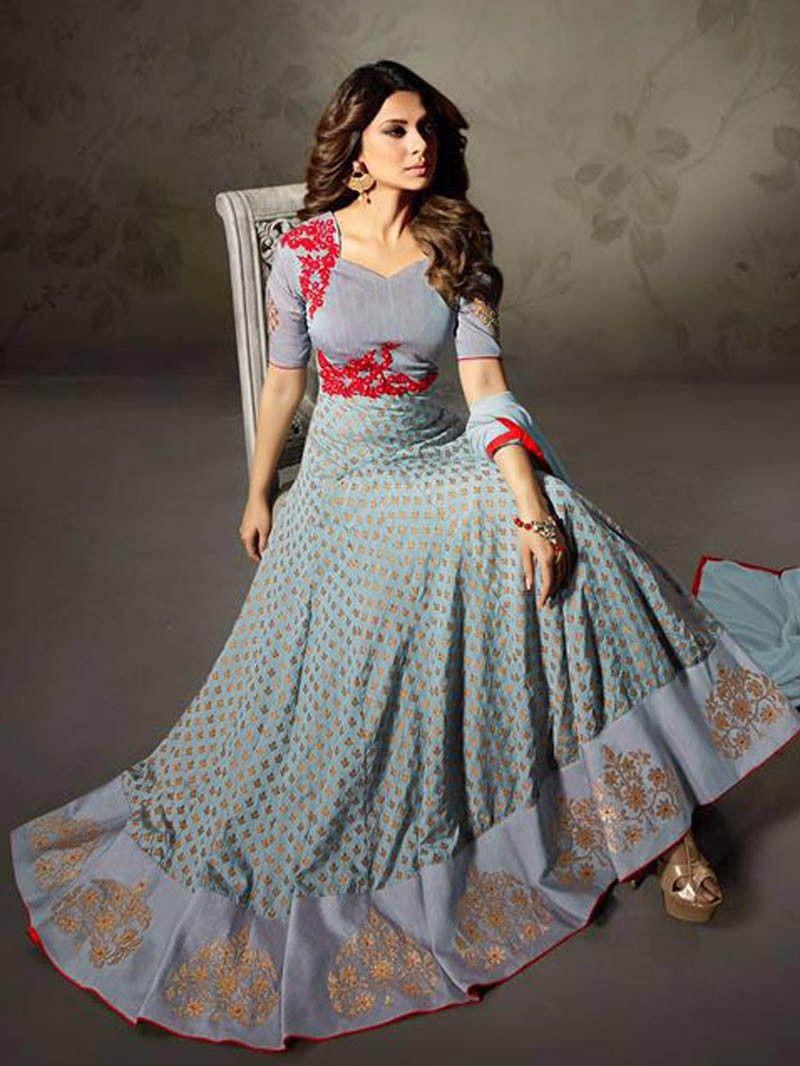 21fd83d51c538c Gray+Color+Indian+Pakistani+Designer+Bollywood+Design+Anarkali+Suit+Fabric