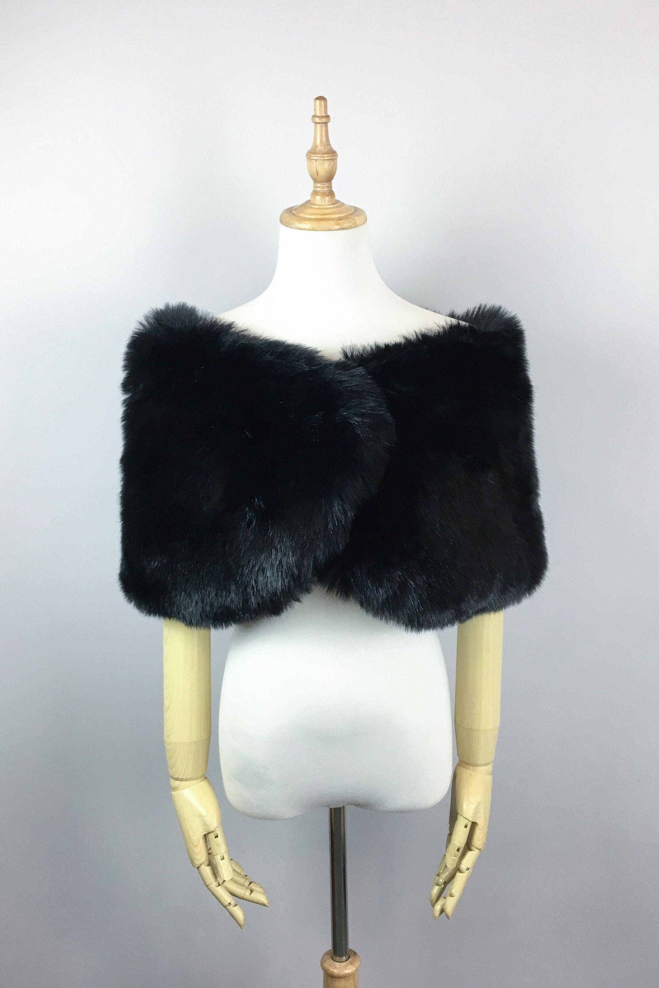 Black wedding bridal faux fur stole wrap shawl cape