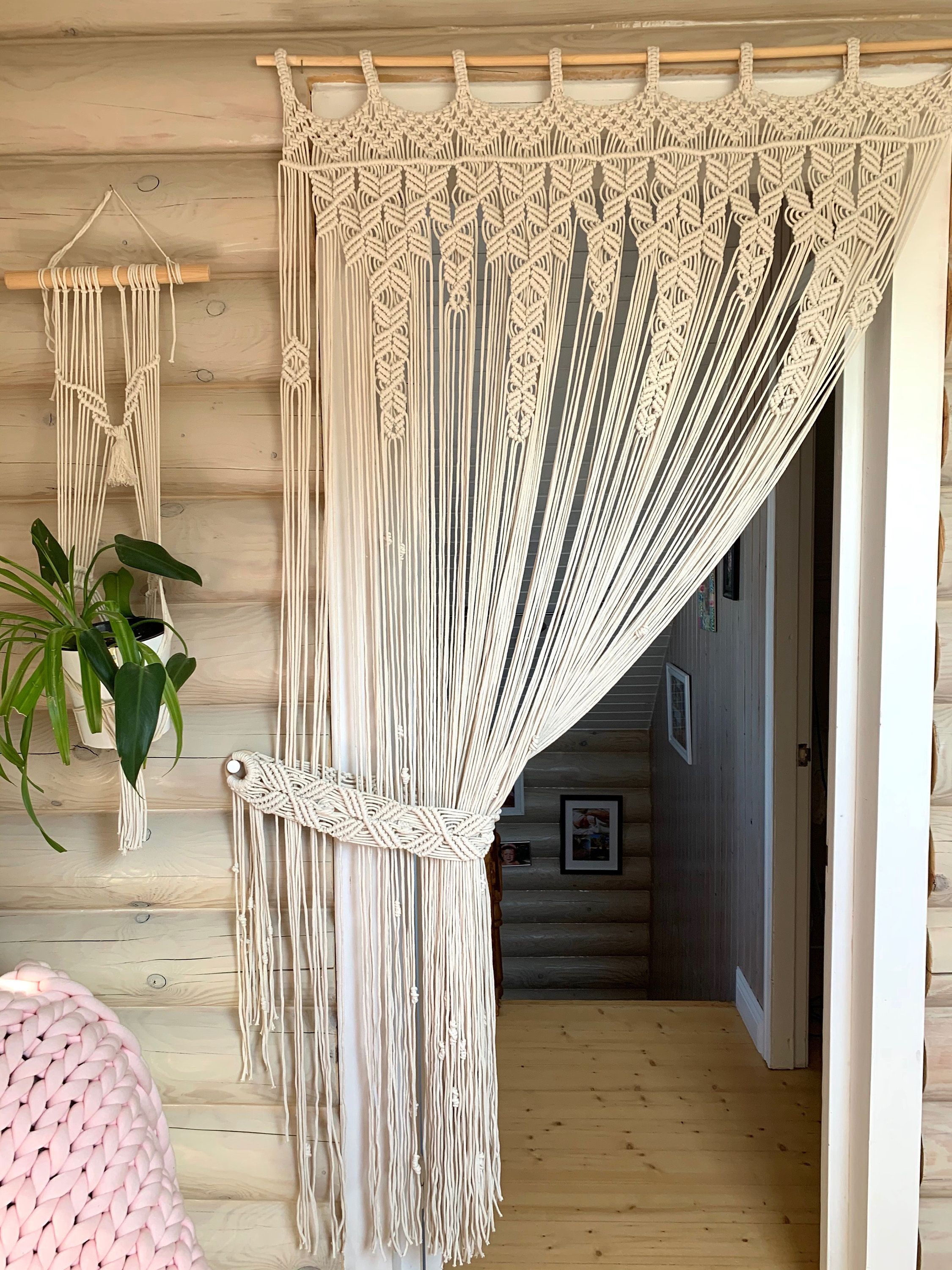 Macrame Curtain With Curtain Holderboho Room Dividermacrame Etsy