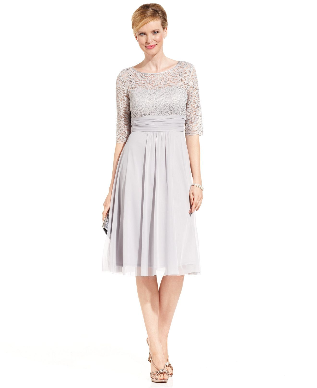 Stunning Mother Of The Bride Dresses: Jessica Howard Dress, Short-Sleeve Lace Pleated