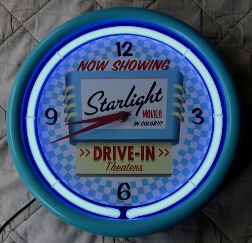 Starlight Drive-In Theater Classic Neon Clock Works Fine Diner