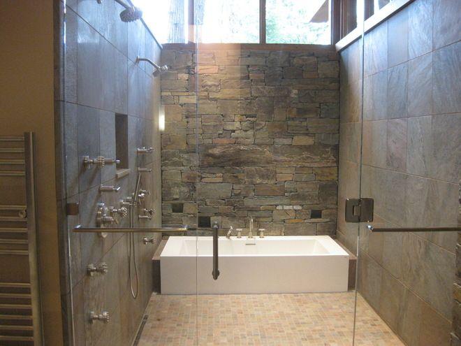 Shower Tub Combo Rock Wall Wet Room Bathroom Tub Shower Combo