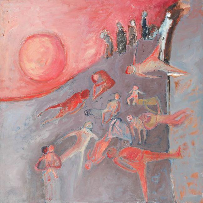 Malvina Kaplan, Enterrés vivants à Auschwitz (1961-62).  (1913–1987) Peintre et sculpteure née à Lodz, en Pologne, elle étudia à l'Académie des beaux-arts de Varsovie, fut déportée au ghetto avec son mari, puis à Auschwitz, Ravensbrück et Malchow. Rescapée grâce à une intervention de la Croix-Rouge suédoise, elle retrouva son mari en 1947 et émigra à Israël.