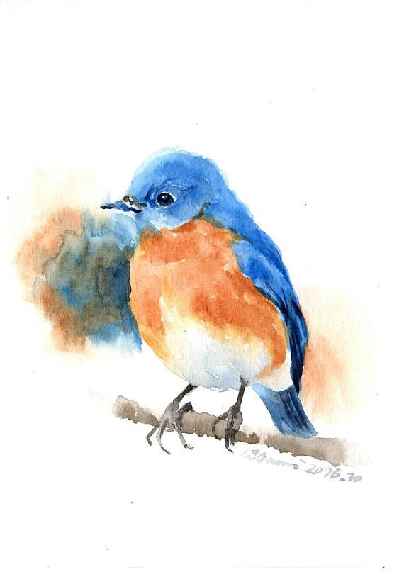 Aquarelle Originale Peinture Oiseau Bleu Sur La Branche 13x19cm