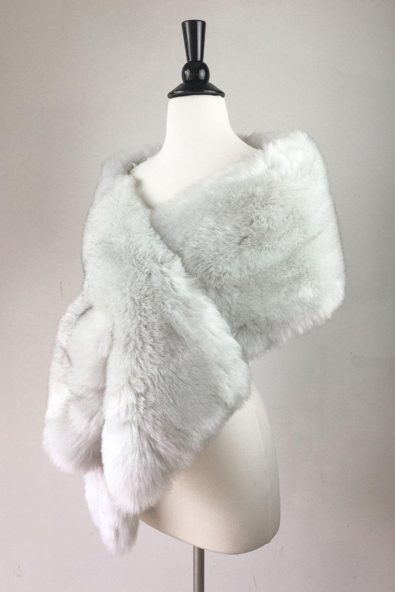 Fur wedding dress  Light Gray Wedding Bridal Fur Stole Wrap Shawl Cape Lilian Gry