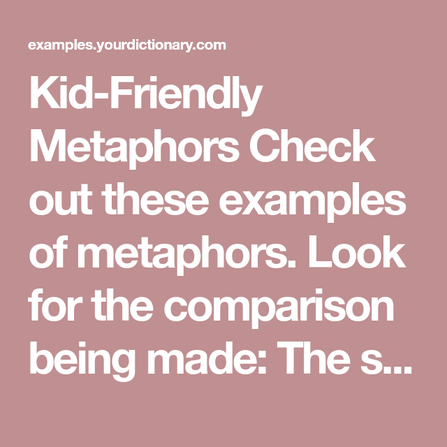 Metaphor Examples For Kids