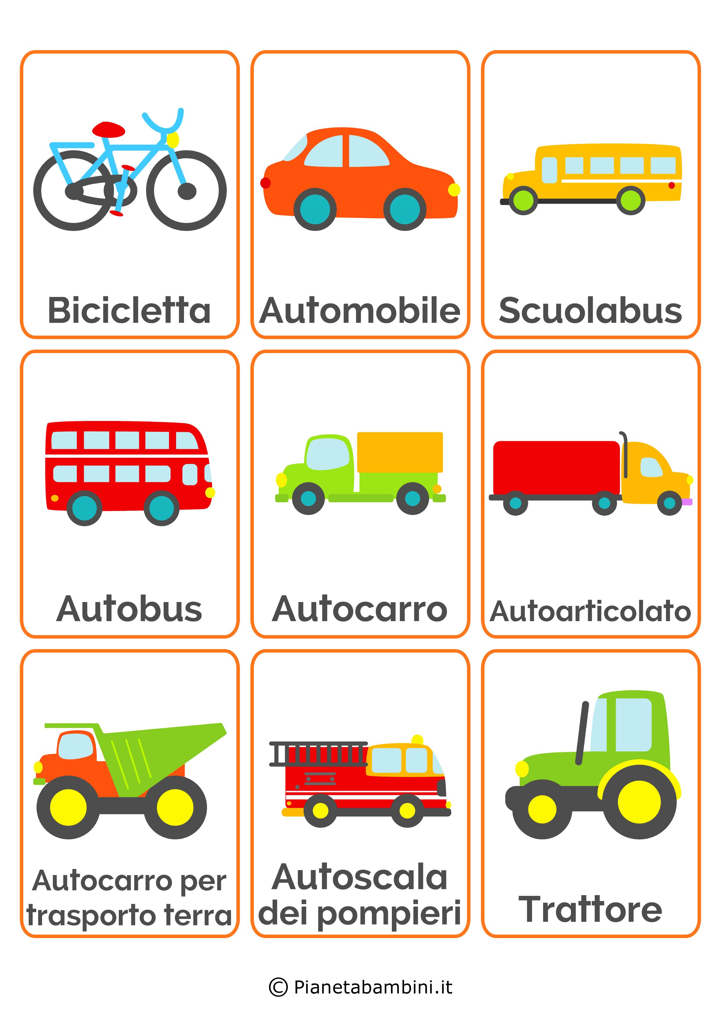 Super 18 carte tematiche per bambini dedicate ai mezzi di trasporto da  PT44
