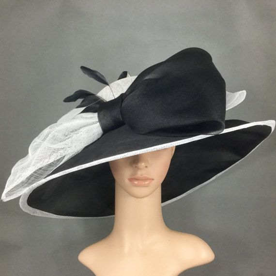 6259fb4e490 Black and White Sinamay and Silk Wide Brim Kentucky Derby Hat ...