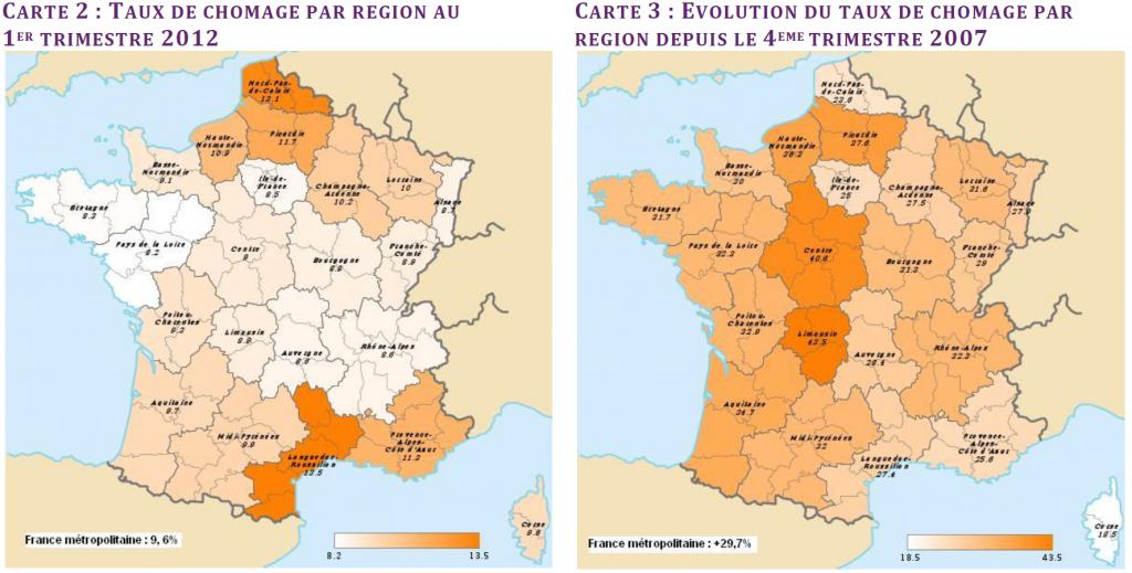 France : taux de chômage par région au premier trimestre 2012 VS. 4e trimestre 2007