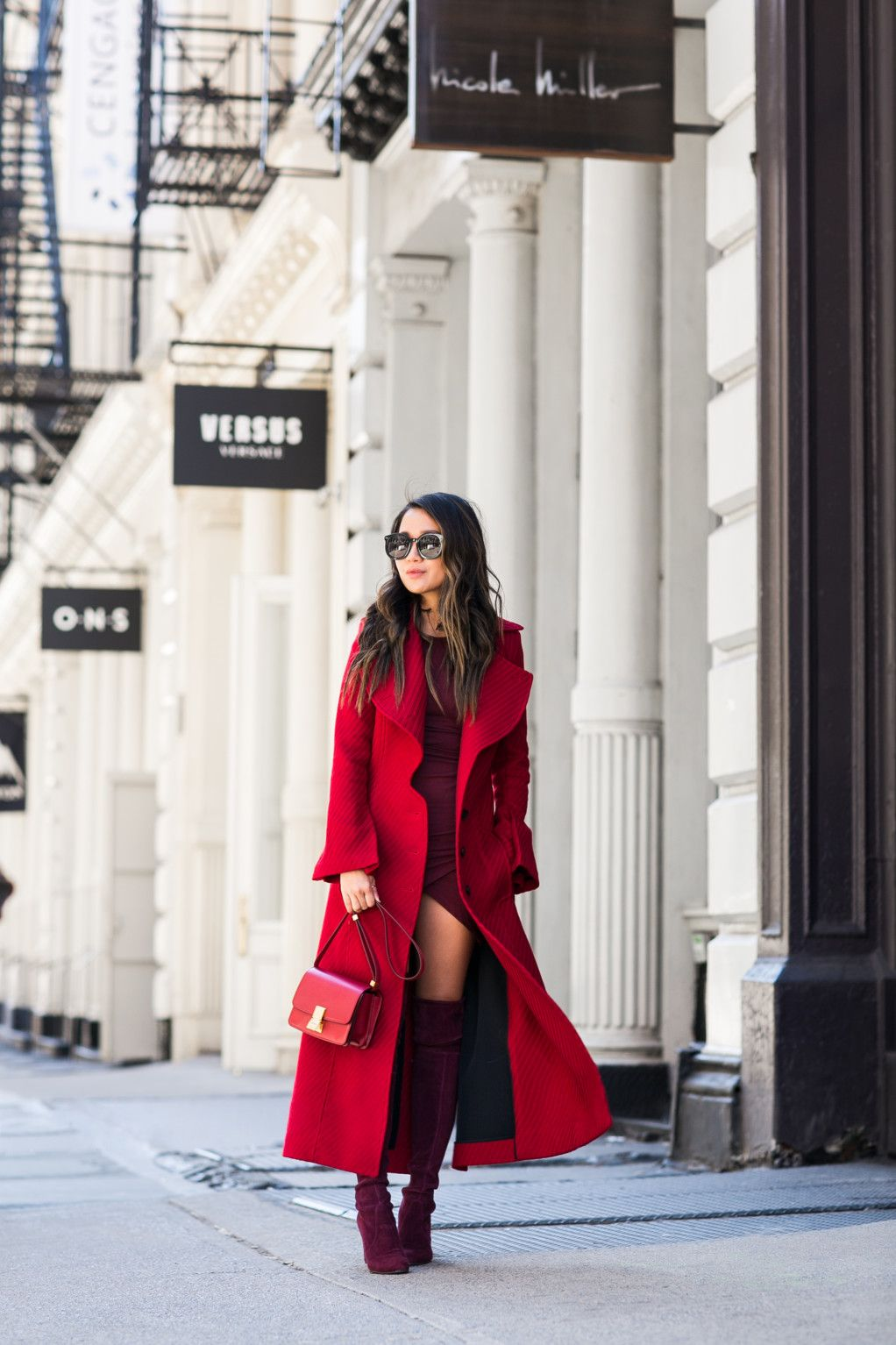 Shades Of Wine Red Long Coat Burgundy Boots Wendy S Lookbook Red Long Coat Burgundy Boots Long Coat