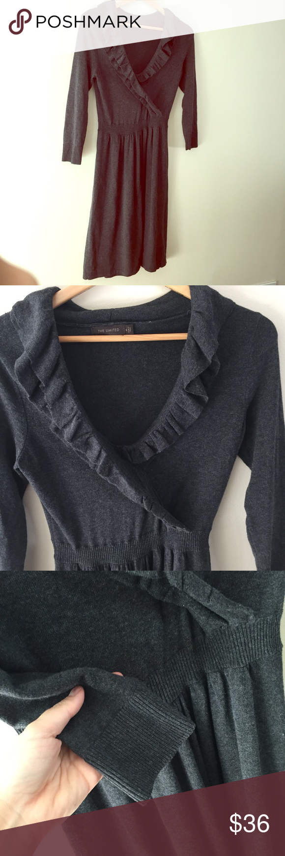The limited long sleeve knit dress wrap charcoal ruffle dress and