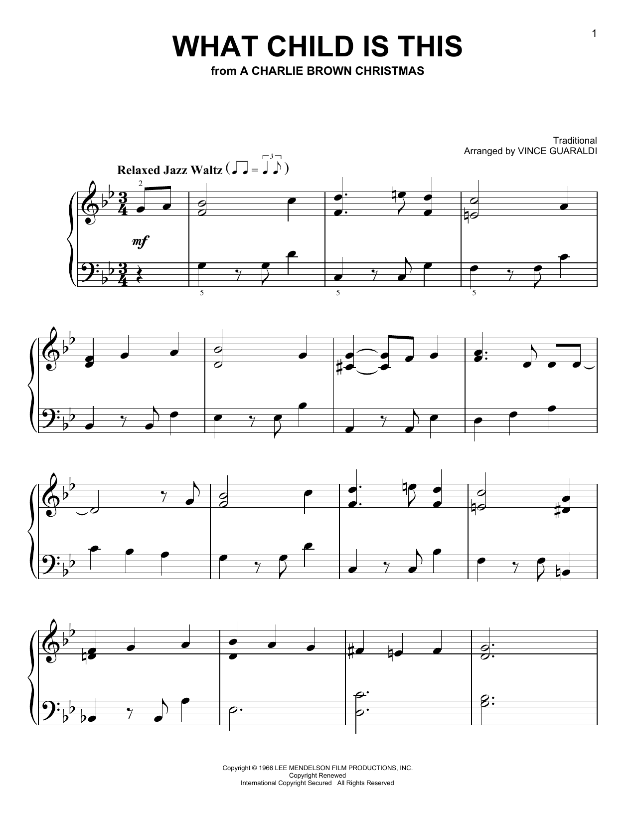 What Child Is This - Vince Guaraldi in 2018 | Christmas sheet music ...