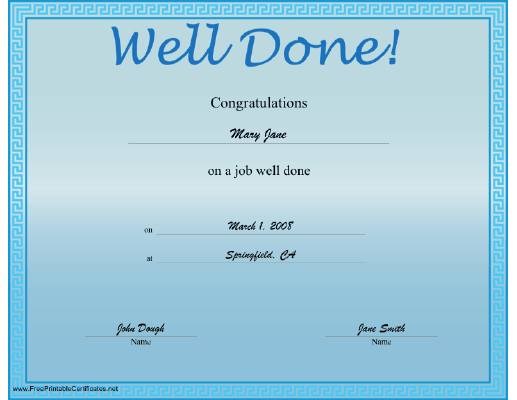 A light blue certificate offering congratulations on a job well well done certificate printable certificate yadclub Choice Image