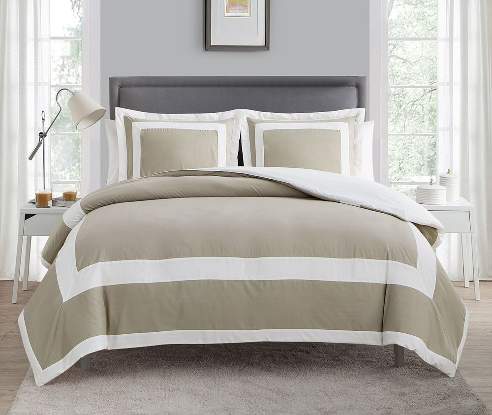 Vcny Home Avo 3dv Quen In Ta Duvet Cover Set Queen Taupe Duvet Cover Sets Comforter Sets Bed Linens Luxury
