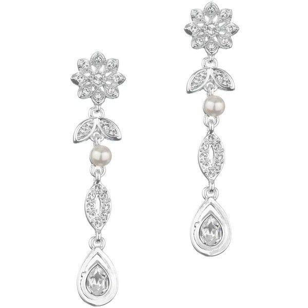 Crystal Flower And Pearl Drop Earring (415 UAH) ❤ liked on Polyvore featuring jewelry, earrings, women's clothing, bridal teardrop earrings, tear drop earrings, crystal earrings, crystal flower earrings and pearl earrings