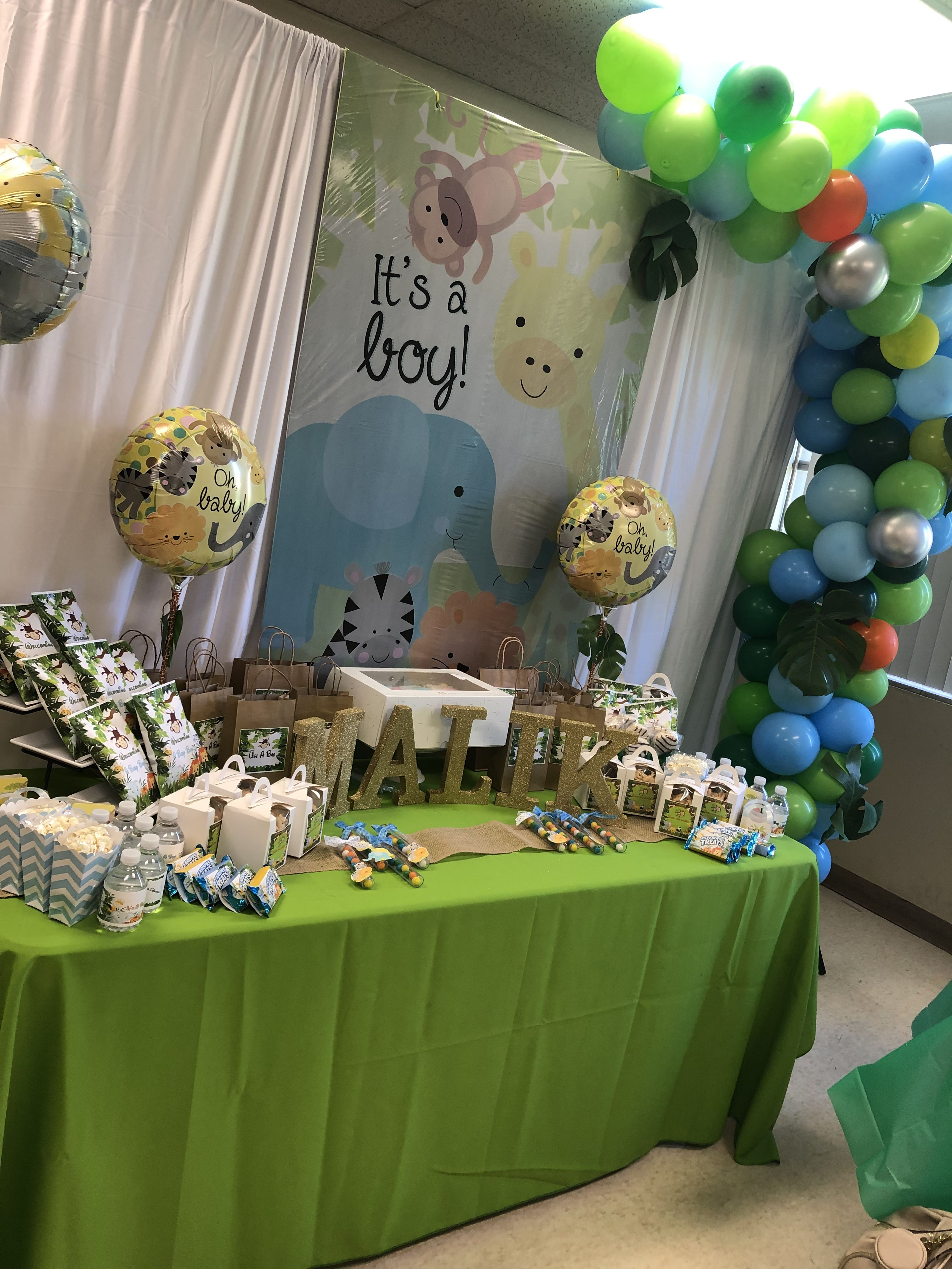 It S A Boy Dollar Tree Baby Shower Baby Shower Dollar Tree Baby Shower Invitation Cards Jungle Baby Shower Decorations