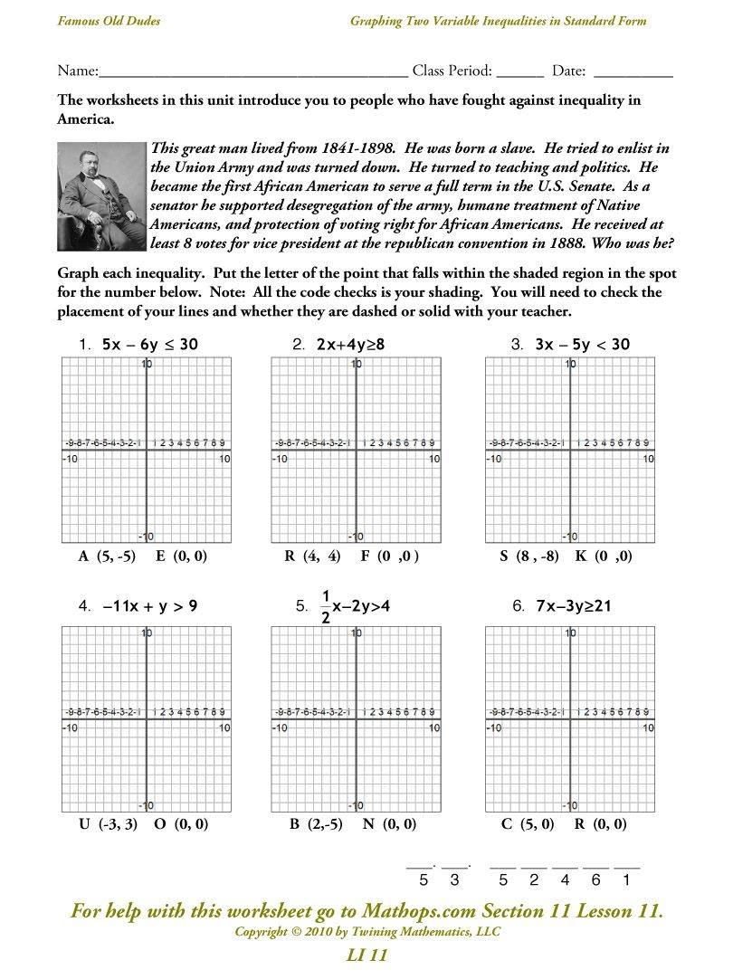Two Variable Inequalities in Standard Form - Free Puzzle Worksheets ...