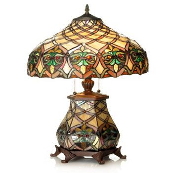 """Tiffany-Style 21"""" Arielle Lattice Design Stained Glass Table Lamp"""