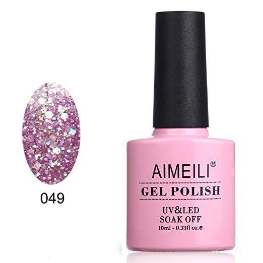 Amazon.com : AIMEILI Soak Off UV LED Gel Nail Polish – Princess Glitter (049) 10ml : Beauty