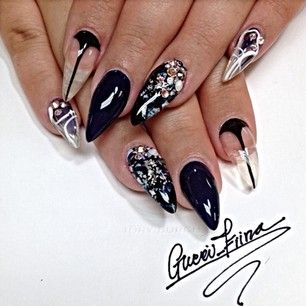 Blk Pointed Nails Art Projects To Try Pinterest Pointed Nails