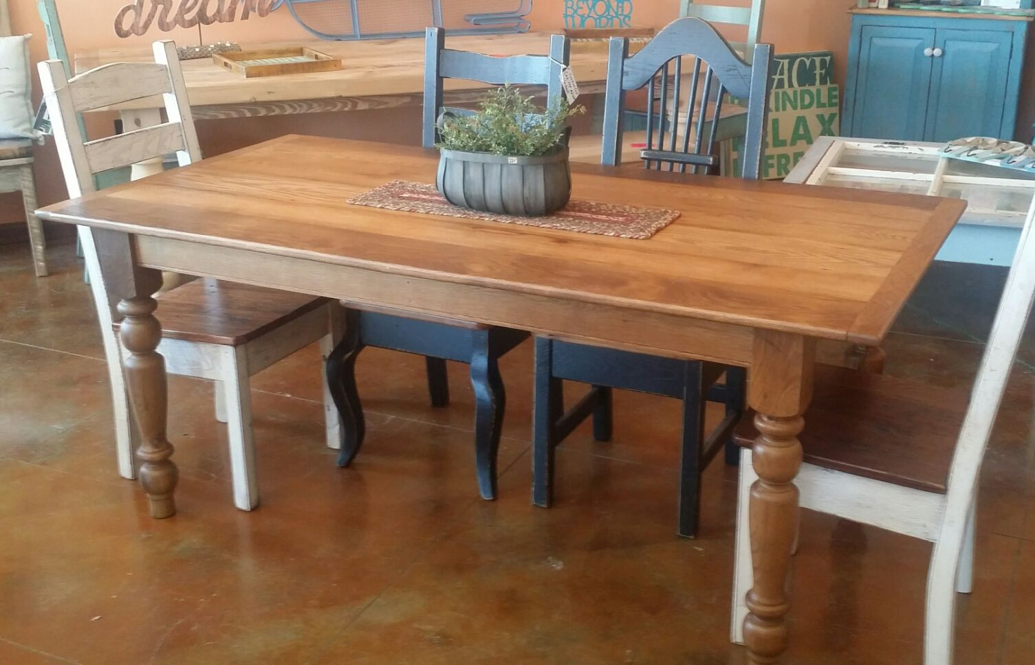 6ft Thin Top Reclaimed Oak Barn Wood Table With Turned Legs Wood