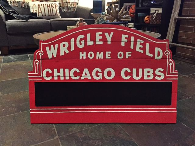 Hand Painted Wooden Wrigley Field Marquee Sign With Chalkboard Each