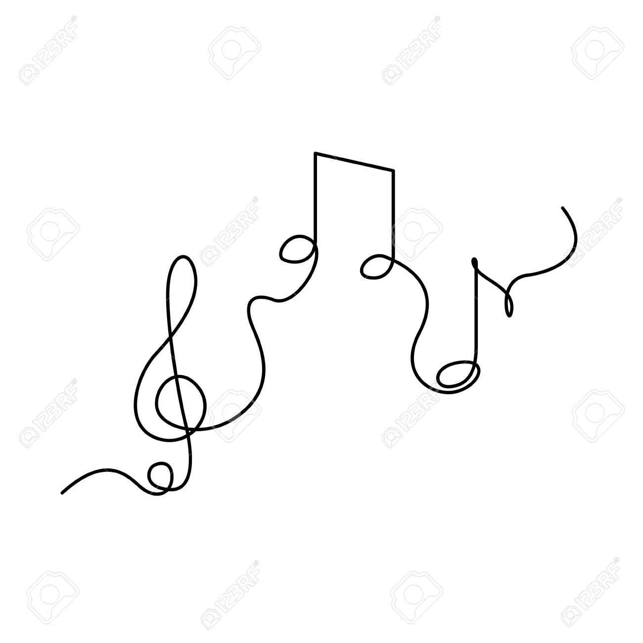 Continuous One Line Treble Clef And Notes Musical Notes A Or In 2020 Line Art Flowers Line Art Drawings Music Notes Drawing