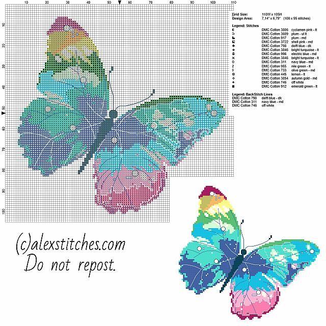 Un PCStitch libera Schemi punto croce farfalla multicolore | punto ...