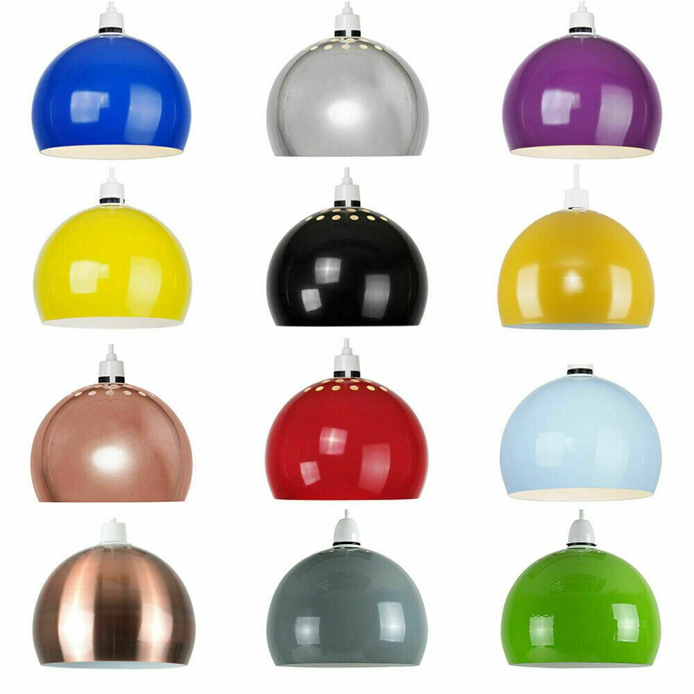 Retro Dome Light Shades Modern Ceiling Pendant Lampshades Metal Various Colours Ebay Ceiling Pendant Lights Pendant Light Shades Ceiling Pendant