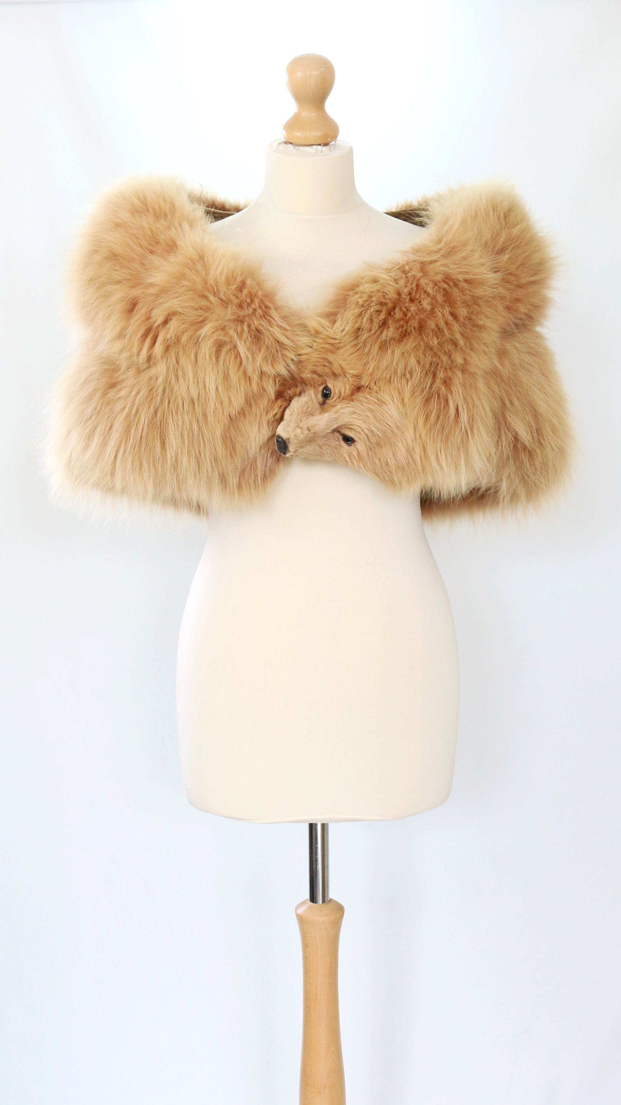 vintage / edwardian amber/peach fox taxidermy real fur stole with
