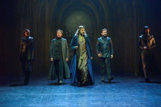 Evelyn Miller as Rambures, Nicholas Gerard-Martin as Orleans, Simon Thorp as King of France, Sam Marks as Constable of France, Robert Gilbert as Dauphin in Henry V. Photo by Keith Pattison