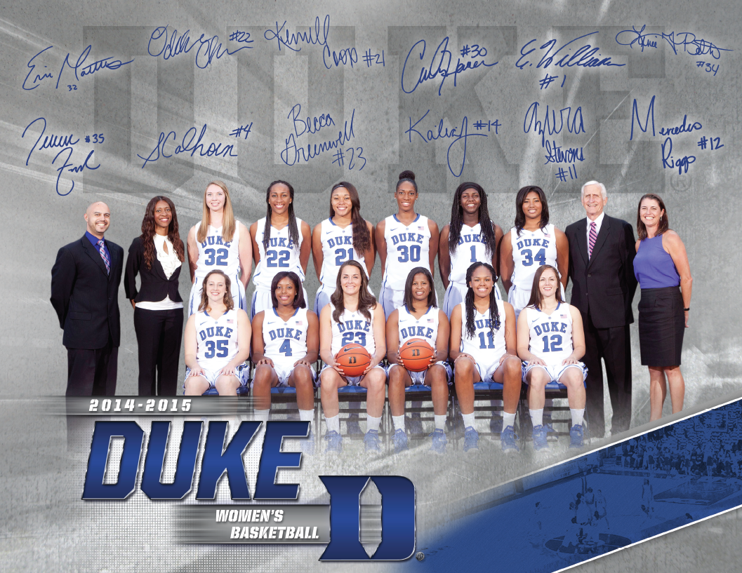 Duke Women S Basketball Roster Card 2014 2015 College Sports Sports Marketing Womens Basketball
