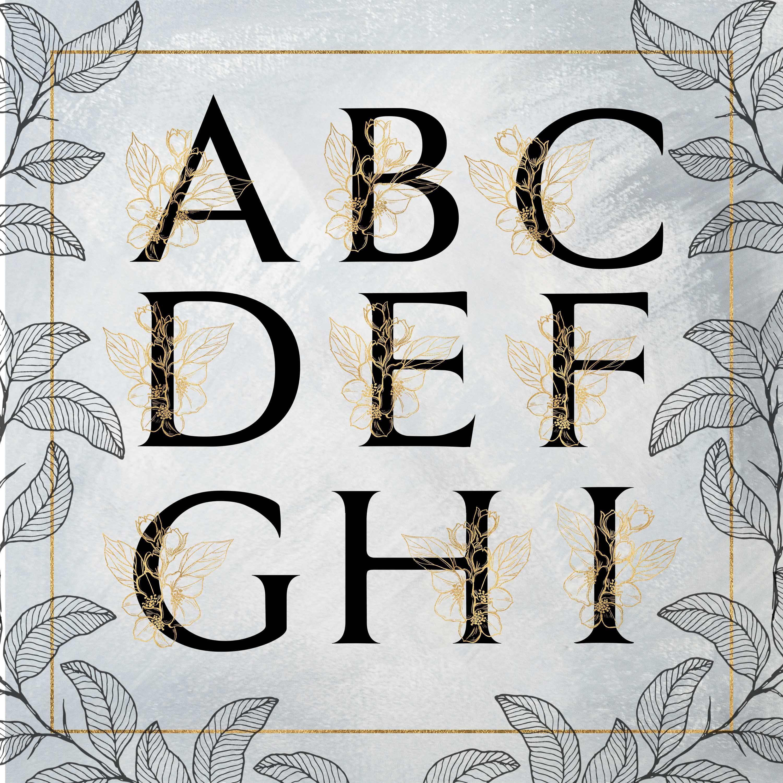 Gold alphabet clipart gold floral alphabet letters flower