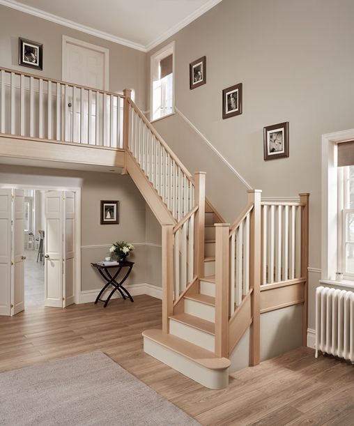 Beautiful Interior Staircase Ideas And Newel Post Designs: Contemporary Cream Painted Staircase
