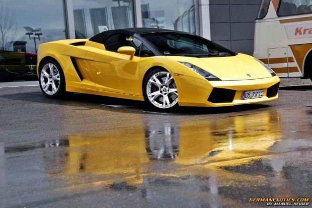 yellow Lamborghini Gallardo Spyder