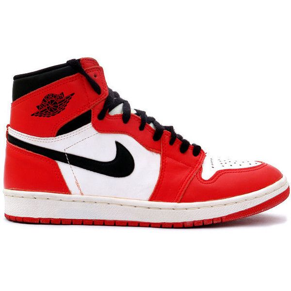pretty nice b7d1f efcd8 Kixclusive - Air Jordan 1 Retro 1994 White Black   Red ( 800) ❤ liked on  Polyvore featuring shoes, sneakers, trainers, jordans, nike, red trainer,  red ...