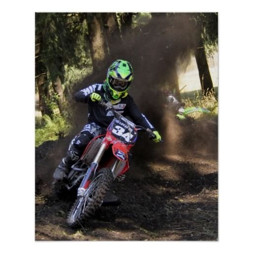 Throwing Dirt In The Turn Poster Zazzle Com Motocross Riders Motocross Motocross Racing