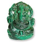 Rudraksha Collection offers Malachite Ganesh , Malachite Ganesh idols in different size and in different weight from India .Malachite assures health and prosperity, as well as good spirits and success in love