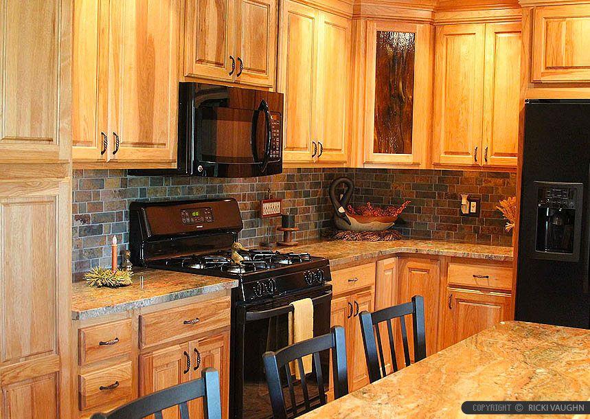 Brown Countertop Oak Cabinet Slate Backsplash Tile | tile backsplash ...
