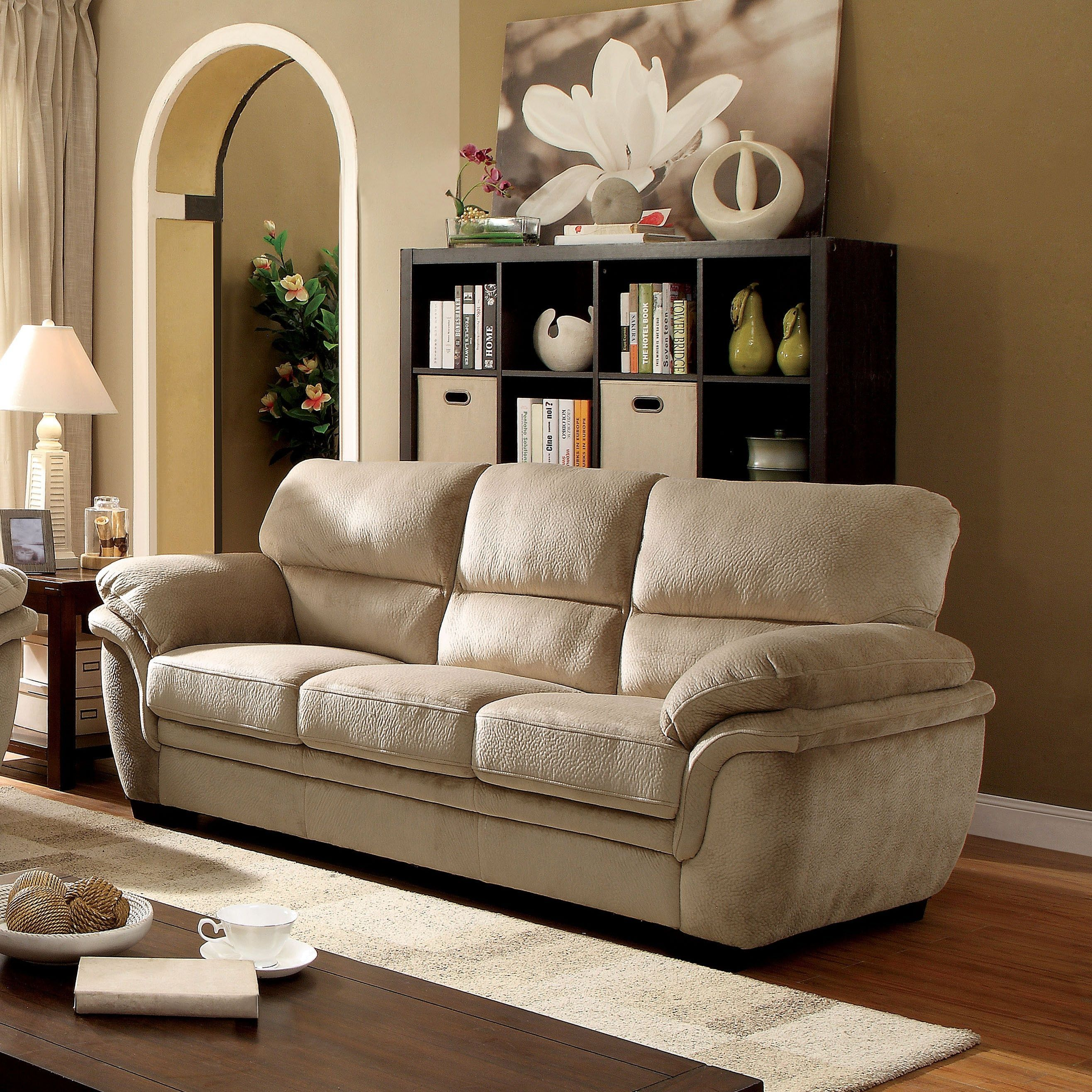 Furniture of america lemmy transitional plush microfiber sofa light brown foam